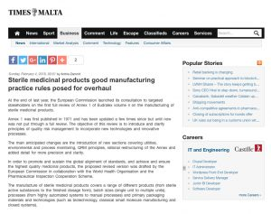 Sterile medicinal products good manufacturing practice rules posed for overhaul